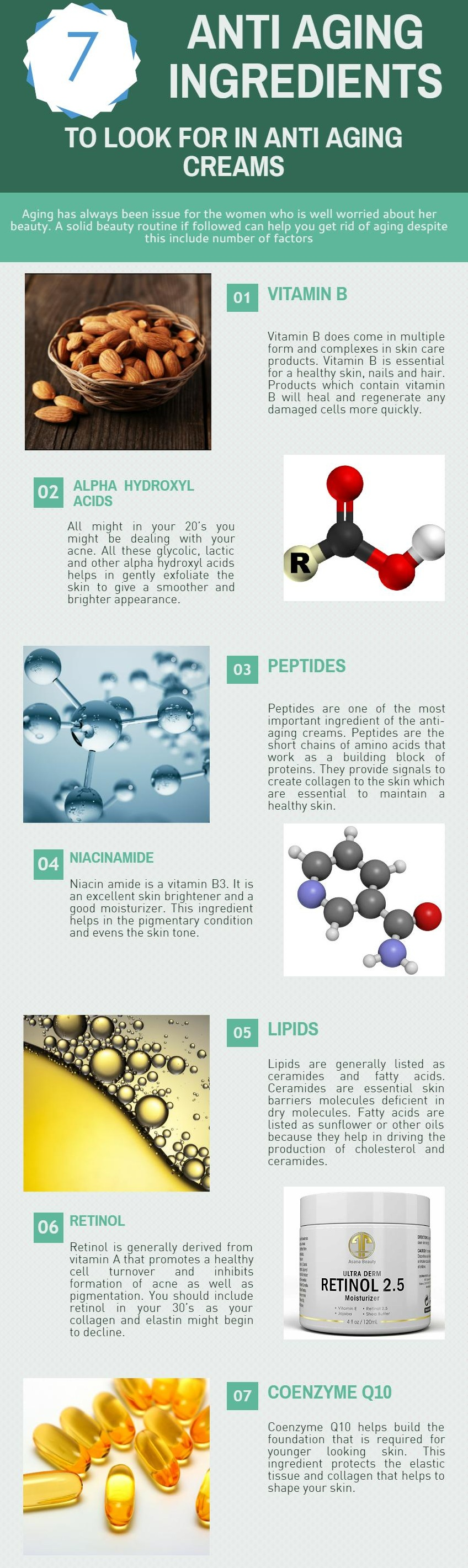 anti aging ingredients infographic